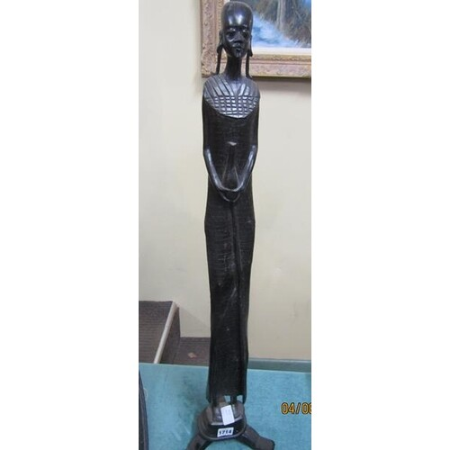 LARGE CARVED AFRICAN FIGURE OF A FEMALE, 80CM H