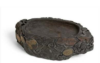 LARGE OVAL 'LOTUS POND' INK STONE EARLY 20TH CENTURY