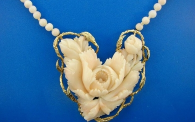 LOVE ME 14k Yellow Gold & Angel Skin Coral Heart