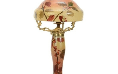 Lamp Signed Legras French Cameo Art Glass