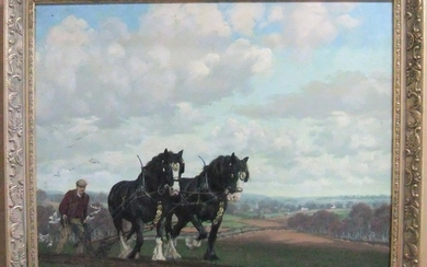 "Large Norman Carter oil on canvas, ""Ploughing scene"" framed ..."