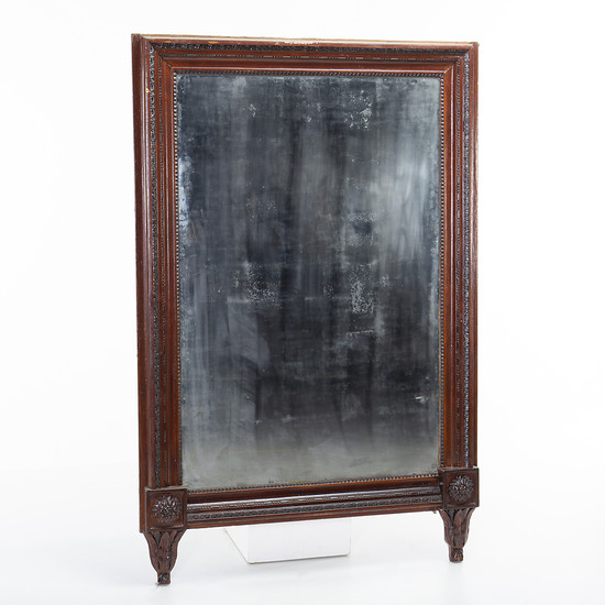 Large Spanish Ferdinand mirror with frame in carved and inked wood, mid 19th Century.