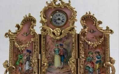 Large Viennese Austrian Enamel 3 Panel Screen Clock