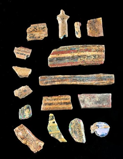 Lot of 16 Egyptian Glass Inlay Fragments