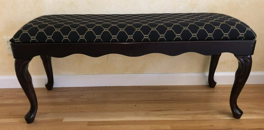 Louis XIV Carved Serpentine Upholstered Bench