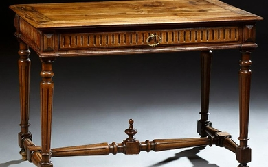 Louis XVI Style Carved Walnut Writing Table, 19th c.
