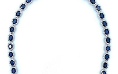 Lovely 14K White Gold Ladies Custom Diamond and Blue Sapphire Necklace. All natural oval cut sapphire set in 4 prongs setting with round brilliant cut natural diamonds. All fine cutting and proportions, all prongs setting style. Natural Sapphire: 35.82...