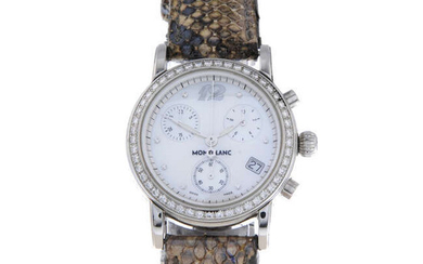 MONTBLANC - a lady's stainless steel Meisterstuck chronograph wrist watch.