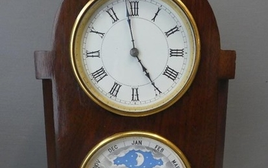 Mahogany cased clock DH above a calendar dial (key and one b...