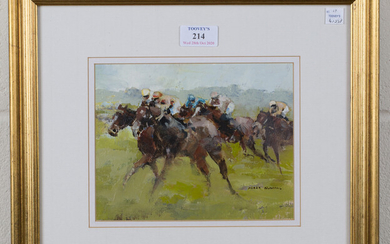 Mark Randall - 'At Full Stretch', oil on canvas-board, signed recto, titled label verso, 1