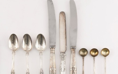 NINE PIECES OF STERLING SILVER AND SILVER PLATED FLATWARE Sterling silver unless otherwise noted. 1-3) Three mustard spoons. London,...