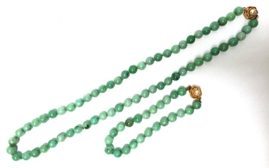 Necklace and bracelet made of jade balls. China,...