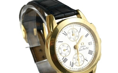OMEGA, LOUIS BRANDT, AN 18CT GOLD GENT'S AUTOMATIC CHRONOGRA...