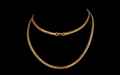 Oriental rose gold curb link chain marked Oriental marks to ...