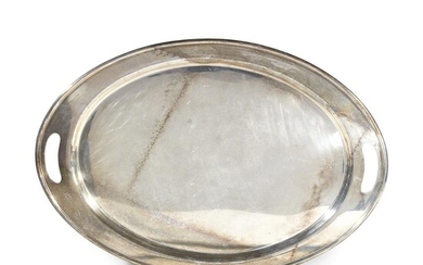 """Oval sterling silver tray 20th century Stamped """"International, Sterling..."""