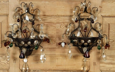 PAIR IRON CRYSTAL TWO LIGHT WALL SCONCES C.1945