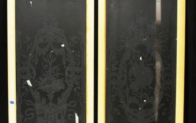 PAIR OF FRENCH ETCHED GLASS WINDOWS, FRAMED