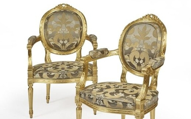 PAIR OF LOUIS STYLE CONVERTIBLE ARMCHAIRS XVI