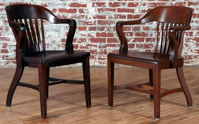 PAIR OF VINTAGE OFFICE CHAIRS CIRCA 1910
