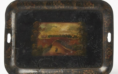 Paint-Decorated Tole Tray with Locomotive