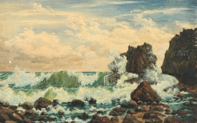 Painter unknown, late 19th century: Rocky coastal scene from Barbados. Signed and dated Th. Fos Jon? 1894. Oil on canvas laid on masonite. 31×47 cm.