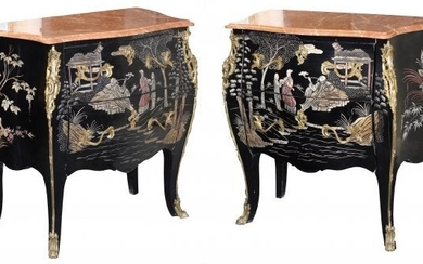 Pair Gilt-Bronze-Mounted Lacquered Chinoiserie Commodes