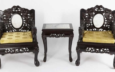 Pair of Chinese Armchairs & Side Table