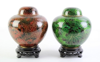 Pair of Cloisonne Lidded Ginger Jars on stand (total height 18.5cm)