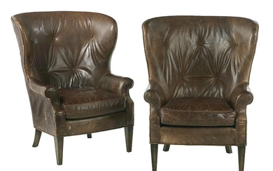 Pair of Contemporary Leather Wing Chairs