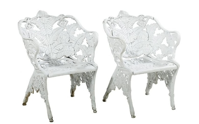 "Pair of ""Fern""-Pattern Cast Iron Garden Chairs"