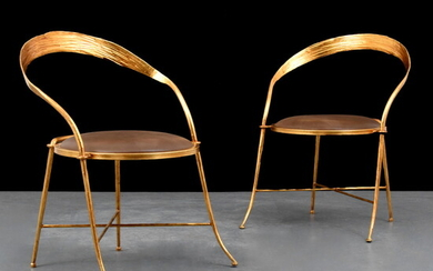 Pair of Gilt Metal Chairs, Manner of Rene Drouet