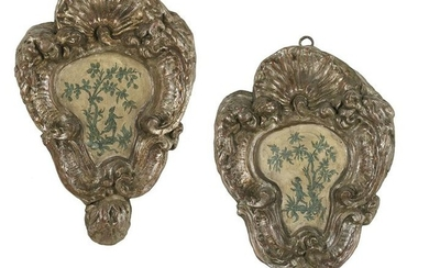 Pair of Italian Painted and Silvered Plaques
