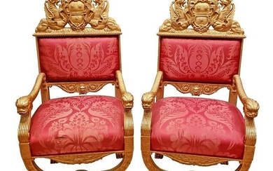 Pair of Magnificent 19th C. Gold Leaf Royal Arm Chairs