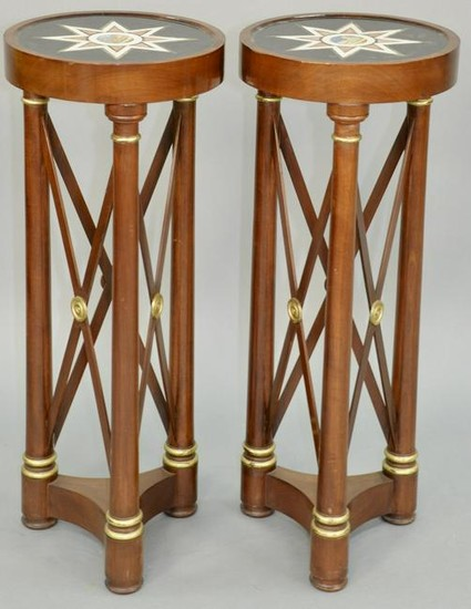 Pair of Neoclassical Style Parcel Gilt Marble Top Table