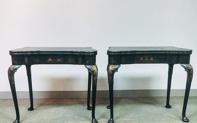 Pair of Queen Anne-style Japanned Game Tables, ht. 28 1/2, wd. 32 1/4, dp. 17 in.