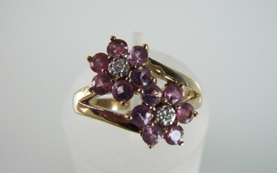 Pink Sapphire and Diamond set twin flower ring set in 9ct mo...