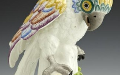 "Polychromed Porcelain ""Dresden"" Parrot, early 20th c."