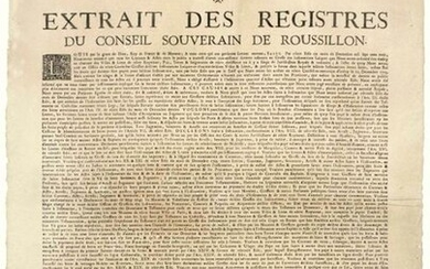 """ROUSSILLON. 1704. """"Excerpt from the records of the SUVERAIN COUNCIL OF ROUSSILLON."""" (Heading, Royal Vignette & Lettrine). Edict signed LOUIS & CHAMILLART, given to VERSAILLES on July 19, 1704. We have ordered that all Contracts & Acts of which the..."""