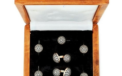 RUSSIAN DIAMOND AND ENAMEL CUFFLINKS AND BUTTON SUITE