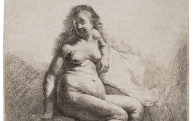 Rembrandt van Rijn (1606-1669) Naked woman on a mound