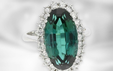 Ring: extremely beautiful vintage brilliant cut diamond / tourmaline goldsmith ring, ca. 10,6ct, handmade from 18K white gold