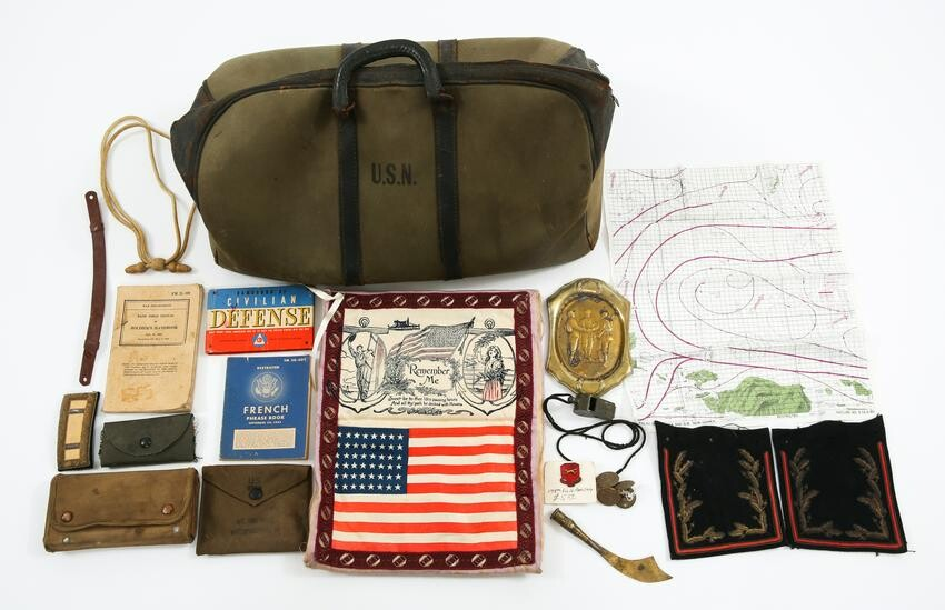 SPAN-AM TO WWII US ARMY NAVY ASSORTED ITEMS LOT