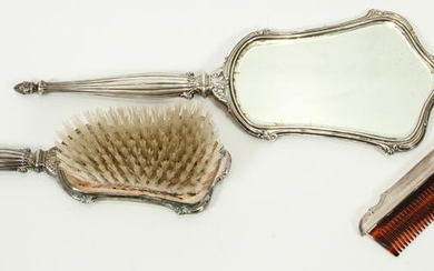 STERLING SILVER COMB, BRUSH & MIRROR, 3 PCS