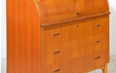 Scandinavian Roll Top / Cylinder Desk with Inlay