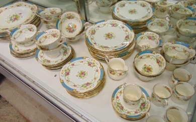 Set Shelley Dubarry porcelain, floral hand painted fine