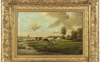 Signed J Wouters, Dutch landscape with cows on the