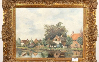 Signed W. Weissenbruch, Houses on a canal, canvas,...