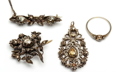 Silver and gold brooch, pendant and a solitary...
