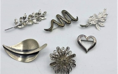 Six [6] Assorted Sterling Silver Brooches