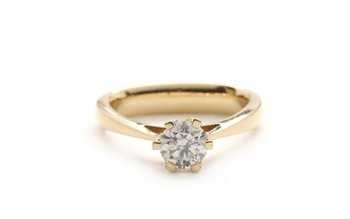 Sixtus Thomsen & Søn: Diamond ring set with a brilliant-cut diamond weighing app. 1.01 ct., mounted in 14k gold. Size 56. 1992.
